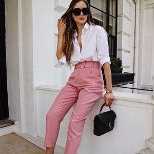 {zara} belted high-waist trousers